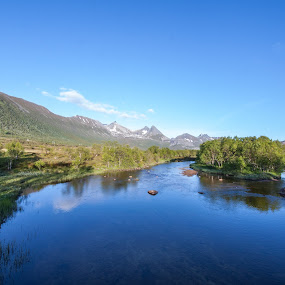 calm river by Benny Høynes - Landscapes Forests ( canon, calm, woods, river, norway, path, nature, landscape )