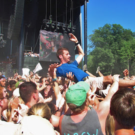 Crowd surfer   by Ann Ashley - People Group/Corporate ( music, concert, people, crowd, crowd surfer, humanity, society )