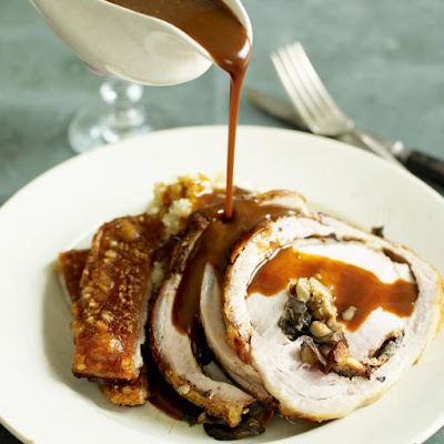 Gorgeous Dinner Of Porchetta Stuffed With Wild Mushrooms, Celeriac Mash & Gravy