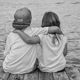 by Jessica Price - People Family ( love, water, black and white, family, texas, children, lake, lake texoma, memories, kids, dock )