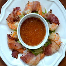 Bacon-Wrapped Shrimp Cocktail with Apricot Horseradish Dipping Sauce