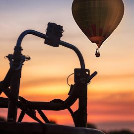 Sunrise for Balloon Fest by Paul Zeinert - Transportation Other ( definace, hot air, north america, ohio, relax, basket, summer, enjoy, sunrise, balloon, usa, fest )