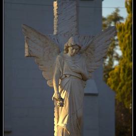 Angelic sunset by Zerene Lotter Eloff - City,  Street & Park  City Parks ( angel, statue )