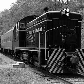 All Aboard! by Jak Conrad - Novices Only Objects & Still Life ( b&w, railroad, locomotive, train, tracks )