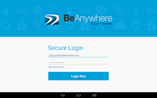 Screenshot of BeAnywhere Mobile Console