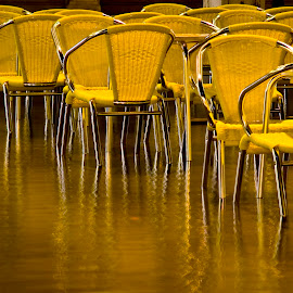 Acqua Alta in Piazza San Marco by Gale Perry - Artistic Objects Furniture ( piazza san marco, venice, aqua alta, chair reflections,  )