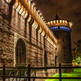 Castello Sforzesco by Andrea Conti - City,  Street & Park  Historic Districts ( milan, tower, park, night, castle, castello sforzesco, milano, italy, medieval, historic )