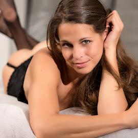 Kelly In Lingerie by John Magnus - Nudes & Boudoir Artistic Nude ( stockings, brown eyes, boudoir photography, lingerie, female, boudoir )