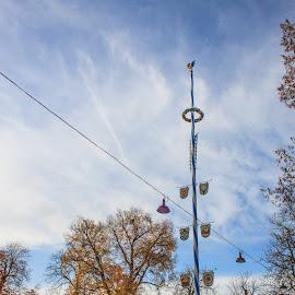 Maibaum by Bastian Bodyl - City,  Street & Park  Amusement Parks ( munich, deutschland, bavaria, biergarten, bayern, germany, müchen )