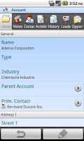 Screenshot of Mobile Client MS Dynamics CRM