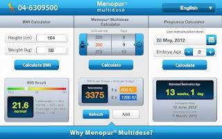 Screenshot of Menopur® Calculator (tablet)