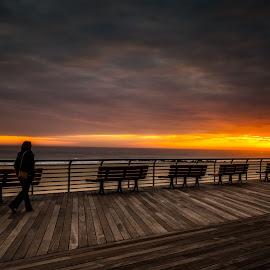 Ribbon of Light by Linda Karlin - City,  Street & Park  Street Scenes ( sunset, seascape )