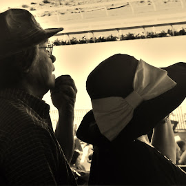 Dope Hats Guys by Brendan Mcmenamy - Novices Only Portraits & People ( hats, del mar, horse, track, races )
