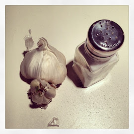garlic.shakes.salt. by Clare Parsons - Food & Drink Ingredients ( clareparsonsphoto, foodporn, garlic, salt, food )