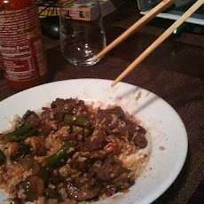 Beef Stir Fry with Mushrooms, Baby Broccoli, Baby Chard and Ramps