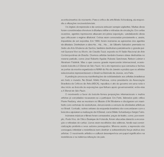 """""""A proibição provocou manifestações de solidariedade aos artistas brasileiros em todo o mundo.""""- texto de Fábio Magalhães"""