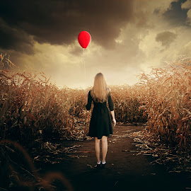alone by Dhie Bazz - Uncategorized All Uncategorized ( woman, digital manipulation, balloon )