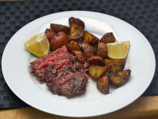 Skirt Steak with Roasted Potatoes and Lemon Recipe | Yummly