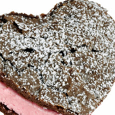 Chocolate Strawberry Heart-Shaped Ice-Cream Sandwiches