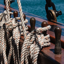 Lines at the Ready, Tall Ship Peacemaker by Jan Irons - Novices Only Objects & Still Life ( peacemaker, tall ship, lines, ropes, nautical,  )