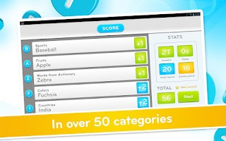 Screenshot of 94 Seconds: category word game