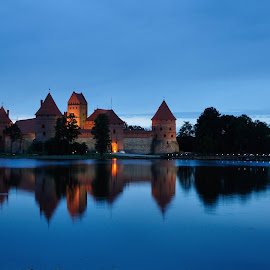 Trakai Island Castle by Teo Niklus - Buildings & Architecture Public & Historical ( trakai, blue, castle, night, lithuania, evening, island )