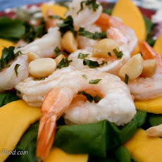 Prawn, Mango and Macadamia Salad With Lemon Basil Dressing