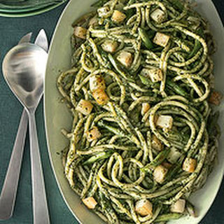 Pici with Pesto, Roasted Green Beans and Potatoes