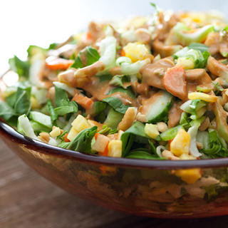 Bok Choy and Pineapple Salad with Peanut Dressing