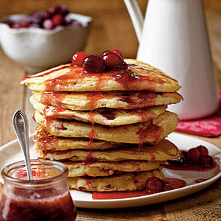 Cranberry-Orange Pancakes with Cranberry-Maple Syrup