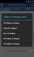 Screenshot of Rupee Exchange Rates