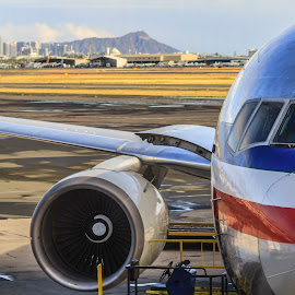Honolulu Airport with a view of Diamond head  by Kelly Headrick - Transportation Airplanes ( airport, airplane, diamond head, honolulu, view, hawaii, oahu,  )