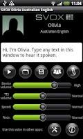 Screenshot of SVOX AU English Olivia Voice