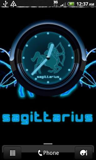 SAGITTARIUS - Neon Blue Clock