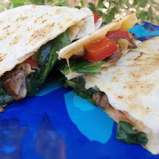 Mushroom and Spinach Quesadilla With Garden Salad
