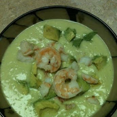 Chilled Cucumber, Avocado and Shrimp Soup