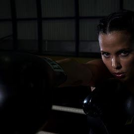 Don't messing around by Alejo Cedeno - Sports & Fitness Boxing ( colorful, boxer, beautiful, gloves, beauty, cute, ringside, portrait, shadows, sportssweating, panama, girl, boxing )