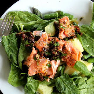 Salmon, Potato, and Asparagus Salad with Sun-Dried Tomato Dressing