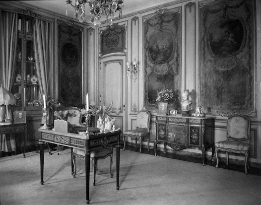 In this view of Adelaide H.C. Frick's boudoir, the Riesener table purchased from Jacques Seligmann can be seen in the foreground.