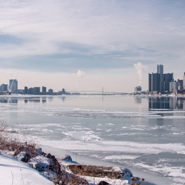 City by DeAndre Watkins - City,  Street & Park  Skylines ( michigan, reflection, windsor, winter, canada, snow, bridge, detroit )