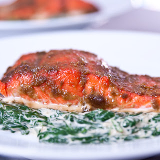 Slow Roasted Salmon with Coconut Creamed Spinach