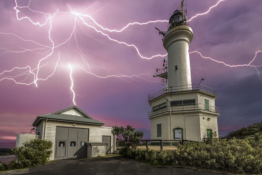 Lightning Lighthouse by Shannon Rogers - Landscapes Weather ( shannon rogers photography, lightning, shannon rogers, pt lonsdale, point lonsdale, australia, lighthouse, storm chasing, victoria, landscape, storm, lightning lighthouse )