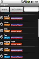 Screenshot of Weapons