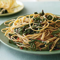 Garlic and Oil Spaghetti with Greens