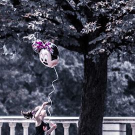 Happy Like A Child by Yordan Yordanov - Babies & Children Children Candids ( child, park, happy, childhood, balloon )