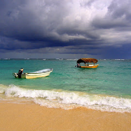 Coming Storm by Steve Parsons - Landscapes Waterscapes ( water, sand, waves, boats, ocean, dominican republic, beach, punta cana, storm )