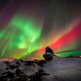 atomic storm by Viktoras Kaubrys - Landscapes Starscapes ( iceland, colors, northern lights, snow, aurora, night )