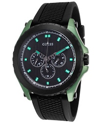 Guess Men's Black Textured Dial Black Rubber