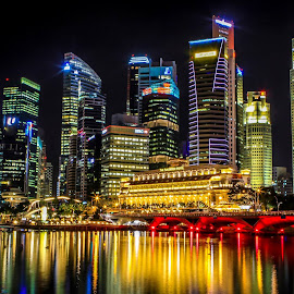 Merlion -Singapore Nightscape by Medel Cabrera - City,  Street & Park  City Parks