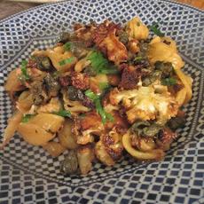 Roasted Cauliflower and Cabbage Pasta with Fried Capers and Cheddar